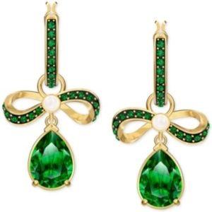 Swarovski Green Crystal Bow Earrings Gold Tone
